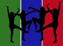跳舞现出轮廓妇女 皇族释放例证