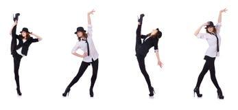 跳舞现代舞的妇女舞蹈家 免版税库存图片