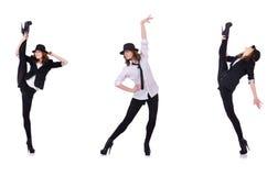 跳舞现代舞的妇女舞蹈家 免版税库存照片
