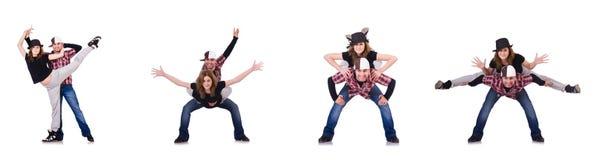 跳舞现代舞的对舞蹈家 图库摄影