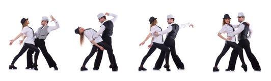跳舞现代舞的对舞蹈家 免版税库存照片