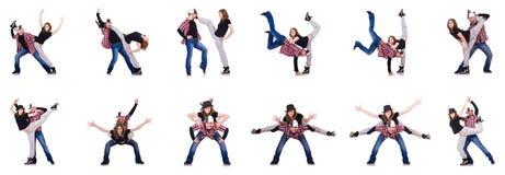 跳舞现代舞的对舞蹈家 免版税库存图片