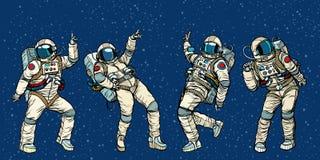 跳舞男人和妇女的迪斯科聚会宇航员 皇族释放例证