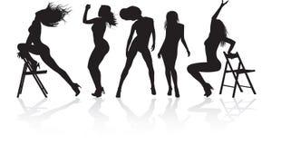 跳舞的五女孩 库存图片