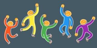 跳舞的人乐趣党的作为幸福的概念 皇族释放例证