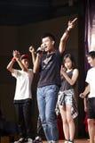 跳舞的学生唱歌和 免版税图库摄影