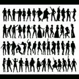 跳舞的新的人员集合唱歌 库存例证