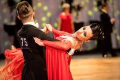 跳舞缓慢的华尔兹或探戈的竞争者 免版税库存照片
