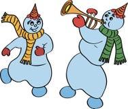 跳舞雪人 免版税库存照片