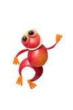 跳舞青蛙由红色苹果制成 免版税库存照片