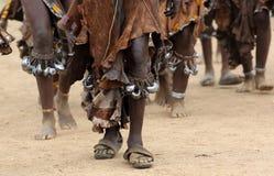 跳舞更低的Omo谷的,埃塞俄比亚Hamer妇女 免版税库存图片