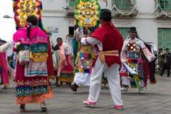跳舞Kichwa的人户外 免版税库存照片