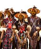 跳舞Yaake的人跳舞并且唱歌在Guerewol节日在InGall村庄,阿加德兹,尼日尔 免版税库存照片