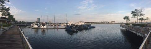 跳船口岸柔佛海湾岸马来西亚 免版税库存照片