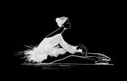 跳芭蕾舞者剪影 免版税库存照片