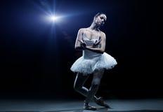 跳芭蕾舞者和阶段展示 免版税库存照片