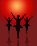 跳芭蕾舞者组 免版税库存照片