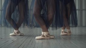 跳芭蕾舞者腿特写镜头在pointe鞋子、贴身衬衣和滤网裙子训练的在木的芭蕾舞蹈艺术屋子 股票录像