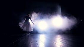 跳芭蕾舞者跳跃 剪影 慢的行动 HD 股票视频
