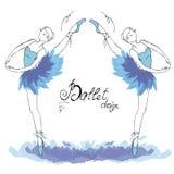 跳芭蕾舞者,画在水彩样式 库存例证