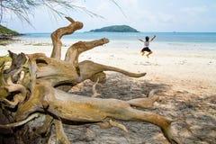 跳跃充满在蓝色海岸的喜悦的愉快的女孩飞行在夏天v 免版税库存图片