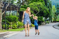 跳跃在公园的妈妈和儿子 免版税库存图片