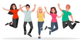 跳跃在白色背景的小组青年人 免版税库存图片