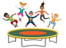 跳跃在绷床的精力充沛的孩子 向量例证