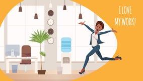 跳跃在Coworking空间的兴奋的办公室妇女 库存例证