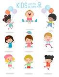 跳跃孩子,跳跃不同种族的孩子,哄骗跳跃充满喜悦,愉快的跳跃的孩子,使用愉快的动画片的孩子,孩子使用 皇族释放例证