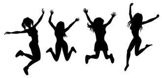 跳跃的女孩剪影  免版税库存图片