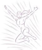 跳跃的女孩简单的线 免版税库存照片