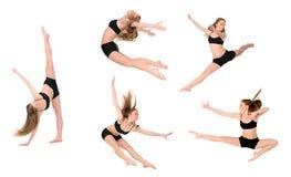 跳跃的女孩舞蹈家 库存照片