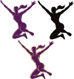 跳跃的概述女孩 免版税图库摄影
