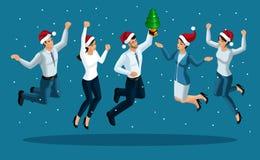 跳跃的男人和的妇女,幸福,圣诞节精神,庆祝新年,与圣诞树的商人的Isometry 库存例证