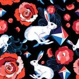 跳跃的野兔的无缝的明亮的样式 库存图片
