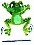 跳跃的青蛙-水彩绘画 免版税图库摄影