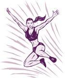 跳跃的风格化女孩 免版税库存照片