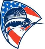 跳跃美国国旗盾的旗鱼鱼减速火箭 免版税库存照片