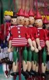 跳跃运动欧洲木拉扯串玩具玩偶 图库摄影