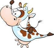 跳跃滑稽的母牛-传染媒介动画片 免版税库存照片
