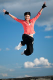 跳过天空体育运动妇女的飞行 免版税库存照片