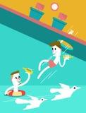 跳进海洋的两个商人。 库存照片