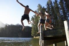 跳进从跳船的小组青年人湖 免版税库存照片