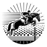 跳马球车手的驯马骑马马马现出轮廓体育运动向量 免版税图库摄影