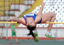 跳高女子运动员 库存照片