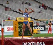 跳高运动员从跳高意大利的胜利的Alessia Trost 免版税库存照片
