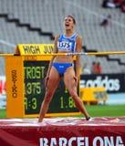 跳高运动员从跳高意大利的胜利的Alessia Trost 免版税库存图片