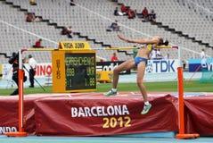 跳高运动员Iryna Gerashchenko 库存图片