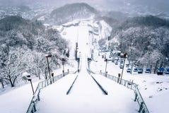 从跳高滑雪的看法在札幌 图库摄影